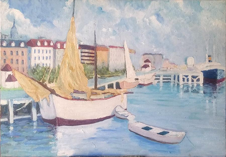 Cuadro empezado sobre foto antigua muelle de Santander, barcos de vela, barcas