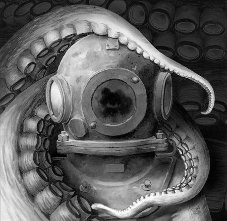 Ilustración a tinta de imagen de portada de la novela 20.000 leguas de viaje submarino