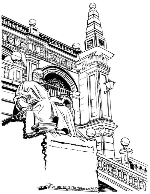 Biblioteca de Menéndez Pelayo, ilustración a tinta de Tomás Hoya Cicero para la señalización monumental de Santander