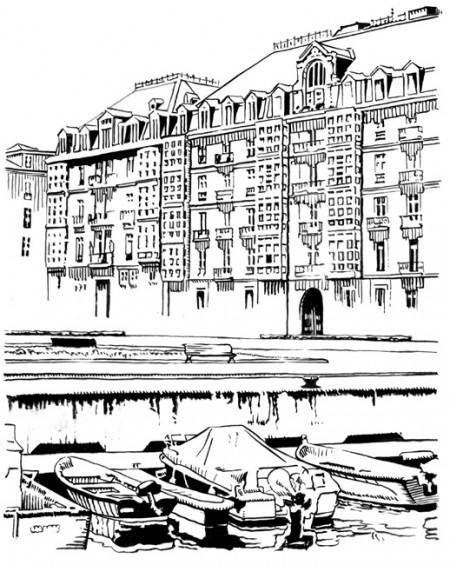 Ilustración de Tomás Hoya Cicero para la señalización monumental de la ciudad de Santander