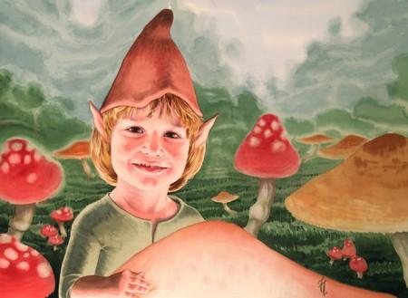 Retrato en acuarela de niño, ambientado y caracterizado como un duende. ilustración, fantasía, watercolor, elf