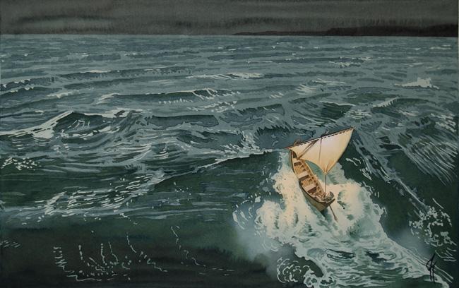 """Marina IX acurela de Tomás Hoya Cicero perteneciente a la serie """"De viento y sal"""". Bote de vela remontando una ola en plena noche, iluminado por un farol"""