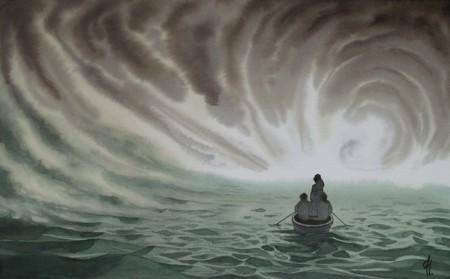 """Marina XIV en acuarela de Tomás hoya Cicero, perteneciente a la serie """"De viento y sal"""""""