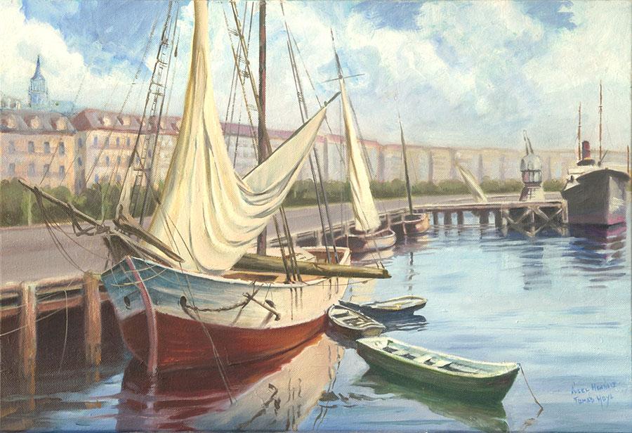 Cuadro del muelle antiguo de Santander. Barcos de vela, barcas de madera, mar