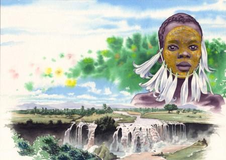 Ilustración en acuarela. Historia que narra la adpoción de una niña etíope por parte de una mujer europea.