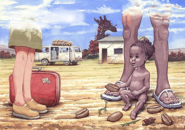 Ilustración de Tomás Hoya Cicero. Acuarela. Historia de una niña africana adoptada por una madre europea. watercolor, illustration.