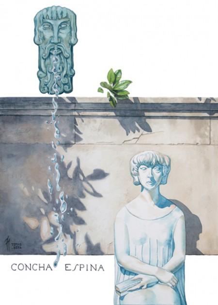 La fuente y la palabra. Acuarela de Tomás Hoya Cicero. Homenaje a Concha Espina. watercolor