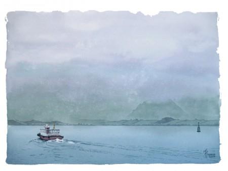 De lluvia y mar, acuarela de Tomás Hoya Cicero. Watercolor, pintura, painting. Paisaje de la bahía de Santander con regina. Landscape, red ship.