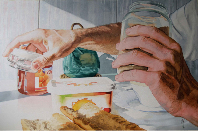 Saboreando la mañana, acuarela de Tomás Hoya Cicero, perteneciente a una seria protagonizada por momentos diarios. Watercolor, moments, lirismo.