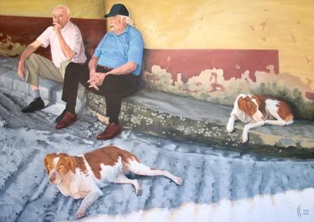 Viejos amigos, pintura en acrílico de Tomás Hoya Cicero.