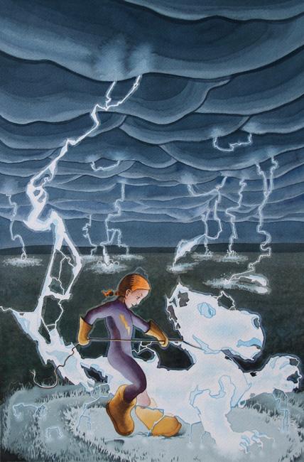 """Jinete eléctrica, ilustración en acuarela de Tomás Hoya Cicero para el cuento """"Peka"""". Watercolor, fantasía, fantasy."""