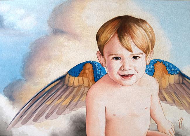 retrato de ángel, acuarela de Tomás Hoya Cicero