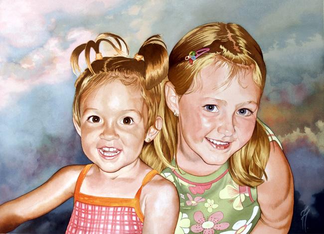 Retrato en acuarela de dos hermanas rubias.