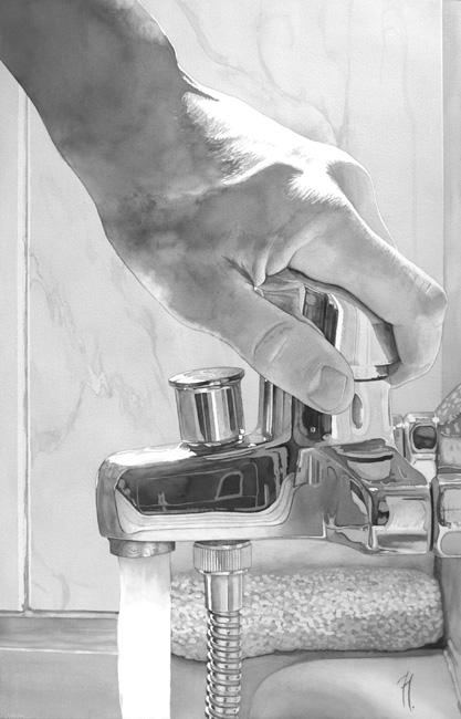 Momento del baño, acuarela de Tomás Hoya Cicero, premiada en el apartado de dibujo en el Certamen Ciudad de Guadalajara