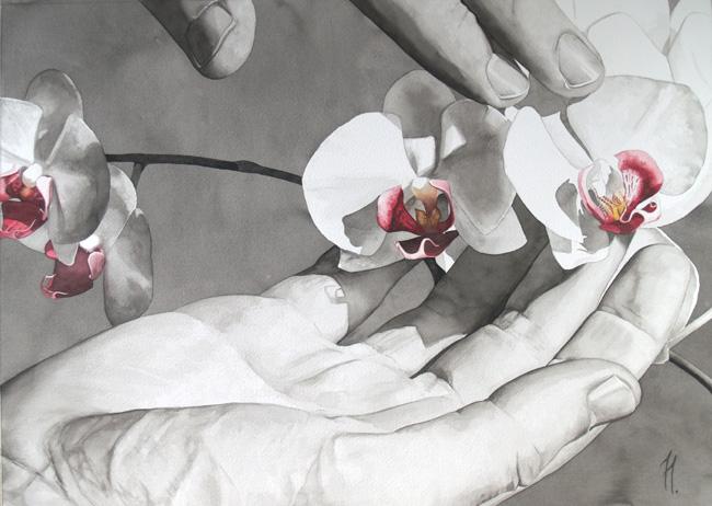 Orquídeas entre mis manos, acuarela premiada en el Certamen de Bellas Artes de Andorra.