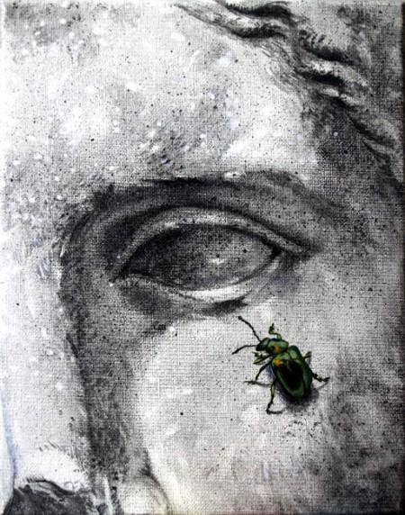 Instante verde, acrílico obra de Tomás Hoya Cicero, de la serie Naturaleza y arte, donde se juega con la representación artística de la naturaleza