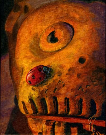 El tigre y la mariquita, obra en acrílico de Tomás Hoya Cicero de la serie Naturaleza y arte, en la que se explora y juega con la representación artística de la naturaleza
