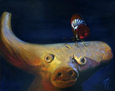 El búfalo y la mariposa, pintura acrílica de Tomás Hoya Cicero, donde se juega con la representaciones de la natuarleza