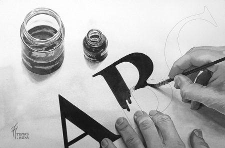 Abecedario es una obra en tinta de Tomás hoya Cicero, premiada en el certamen Manuel Liaño de Torrelavega de 2017