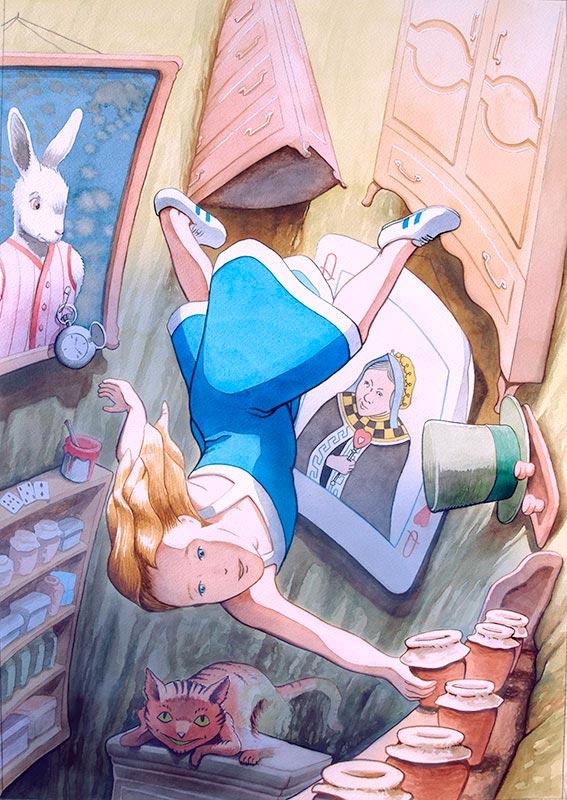 Acuarela que muestra la ilustración de Alicia cayendo por la madrigura de conejo, cuento de Lewis Carroll