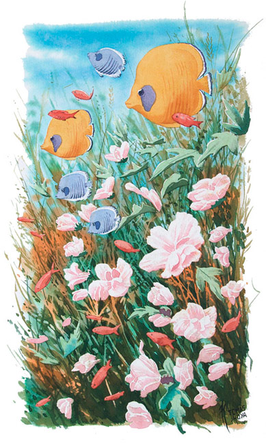 """Arrecife floral, obra perteneciente a la serie """"Distorsión natura"""" del artista Tomás Hoya Cicero. Vegetación, flores blancas, peces amarillos, azules y rojos. Acuarela."""