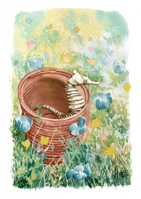 Rodeado por lo desconocido. Pintura. Acuarela de Tomás Hoya Cicero. Ilustración. Illustration. Distorsión natura.