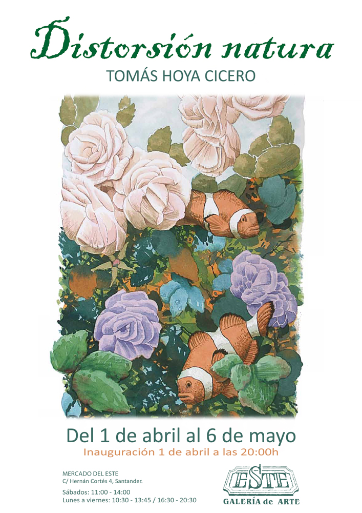 Exposición Distorsión natura de Tomás Hoya Cicero, en la Galería este de Santander. Acuarelas, watercolors