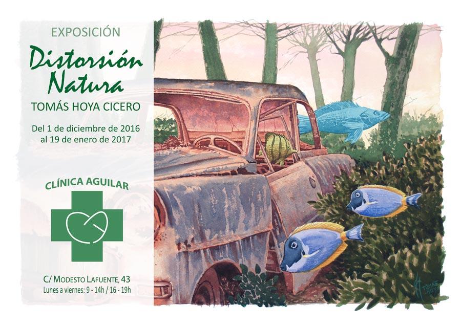 Cartel de la exposición Distorsión natura del artista Tomás Hoya, en Aguilar de Campoo