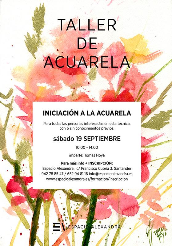 Cartel anunciador de taller de iniciación a la acuarela en Santander, impartido por Tomás Hoya, en septiembre de 2020