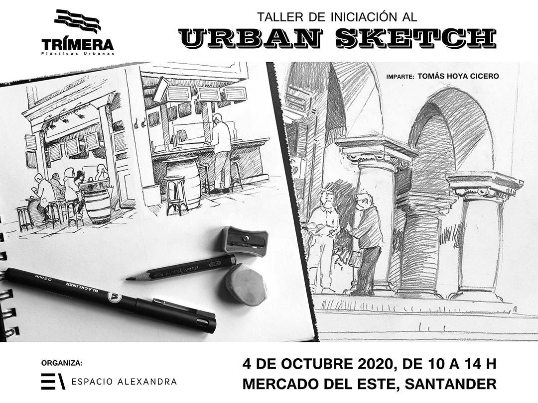 Cartel anunciador de taller de iniciación al Urban Sketch en Santander, impartido por Tomás Hoya, en octubre de 2020