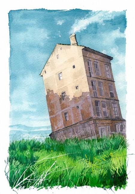 Casa perdida, acuarela, surrealismo fantástico, ilustración, fantasía.