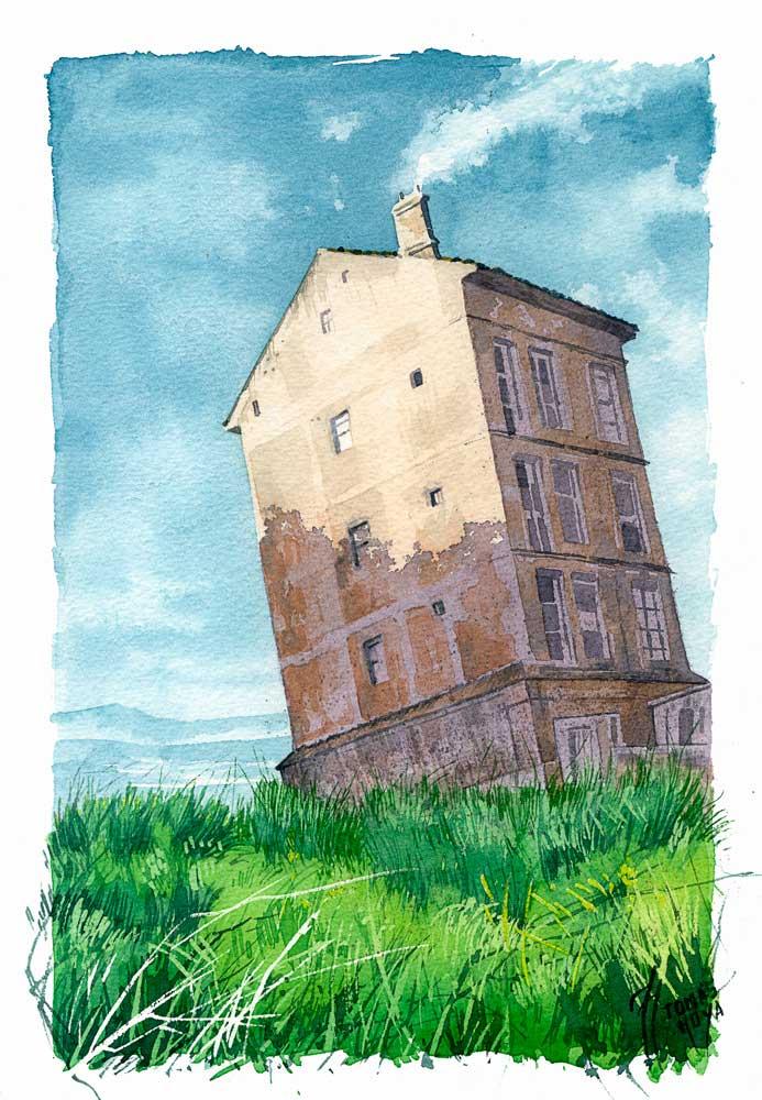 Casa perdida, acuarela de Tomás Hoya Cicero. Watercolor, lost house, surrealismo fantástico, ilustración, fantasía.