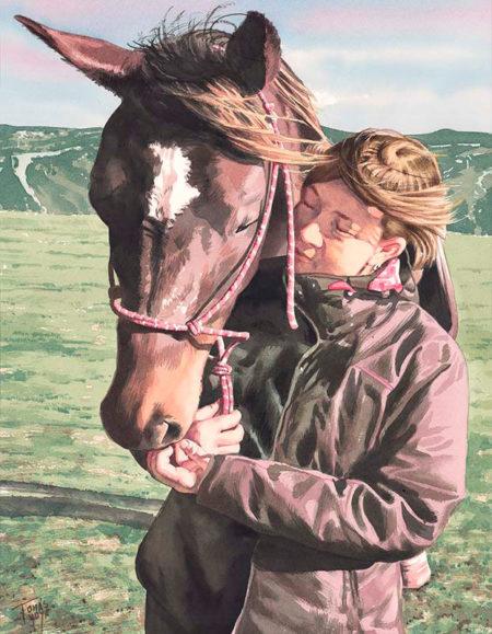 Retrato con acuarela, chica con caballo