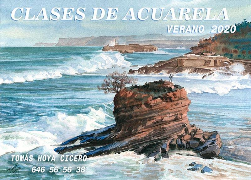 Cartel clases de acuarela en verano de 2020, por Tomás Hoya Cicero en Santander