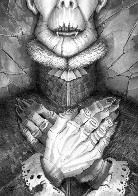 Imagen pintada a tinta de Drácula dormido con las manos sobre el pecho