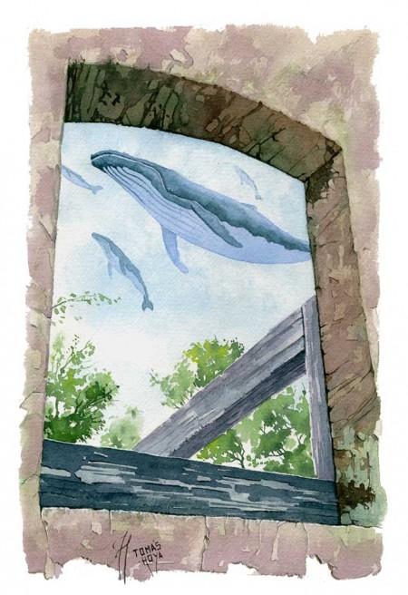 Esperanza azul, acuarela de Tomás Hoya Cicero, pertenciente a la serie Distorsión natura. Pintura, surrealismo mágico, ballenas.