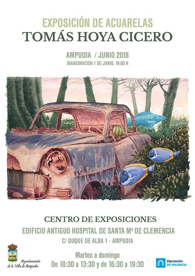 Exposición de acuarelas en Ampudia, junio 2018, Tomás Hoya Cicero