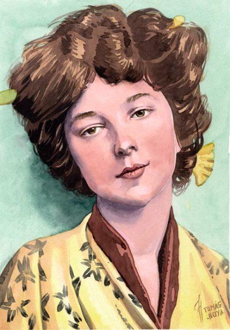 Geisha, retrato en acuarela, pintado por Tomás Hoya Cicero