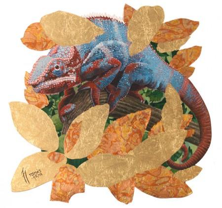 Hermano camaleón obra de Tomás Hoya Cicero. Acrílico y pan de oro