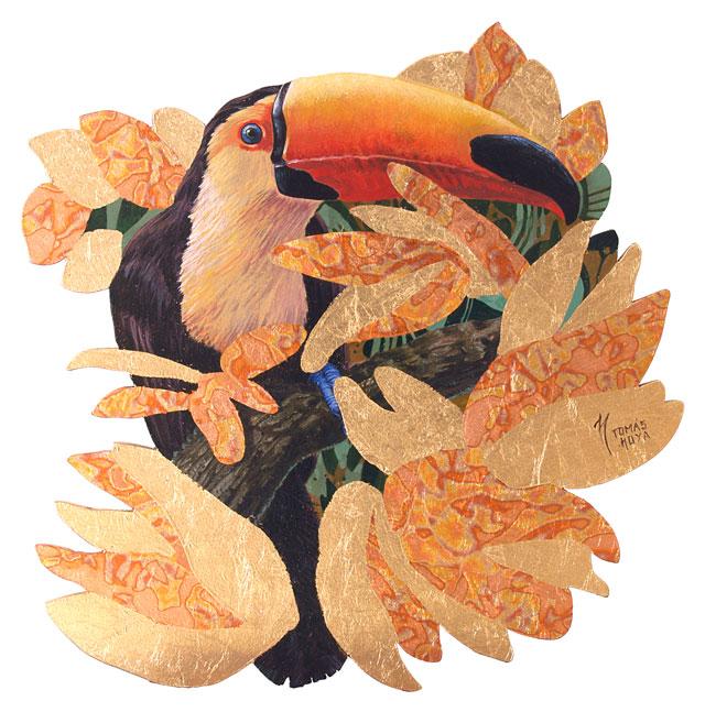 Hermano tucán, acrílico y pan de oro, obra de Tomás Hoya Cicero. Brother toucan, acrilic y Gold leaf. Hojas doradas.