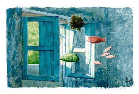 Luz natural es una acuarela del artista Tomá Hoya Cicero. Ilustración. Illustration. Distorsión natura.