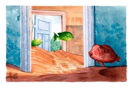 Imagen de la obra Mar de arena, de la serie Distorsión natura. Ilustración. Illustration. Distorsión natura.