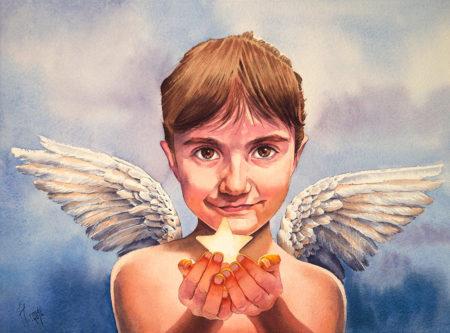 Retrato ilustrado. Retrato de una niña alada en acuarela. Artista Tomás Hoya Cicero. Santander