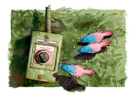 Parada de emergencia. Pintura. Acuarela de Tomás Hoya Cicero. Ilustración. Illustration. Distorsión natura.