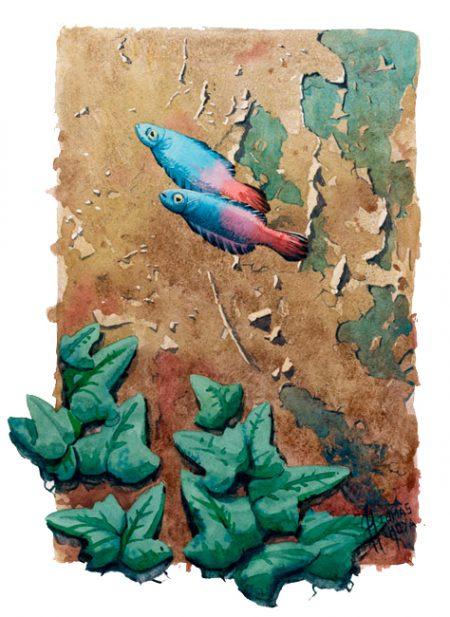 Obra en acurela perteneciente a la serie Distorsión natura