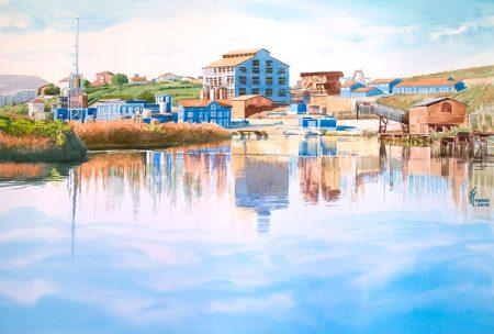 REFLEJOS EN SAN MARTÍN, acuarela de Tomás Hoya Cicero. Watercolor, dibujo, pintura, painting. Paisaje de zona portuaria. Landscape.