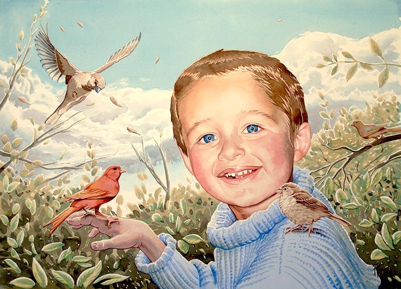 Retrato infantil con pájaros
