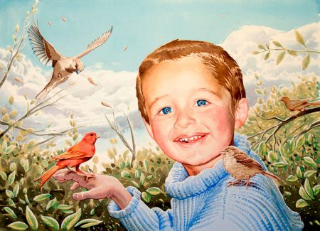 Retrato de niño en acuarela de Tomás Hoya Cicero. Portrait of boy in watercolor. Ambientado, pájaros. Set, birds.