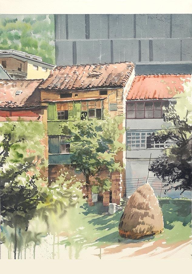 Acuarela premiada con el segundo premio en el concurso de pintura rápida de Ermua, País Vasco, en junio de 2021