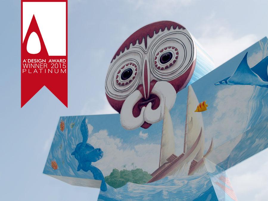 Santander world Oceanía. Escultura en acero intervenida por Tomás Hoya Cicero. Arte urbano, cinco esculturas representando a los cinco continentes.